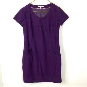 Boden Purple corduroy stitch detail shift dress 10